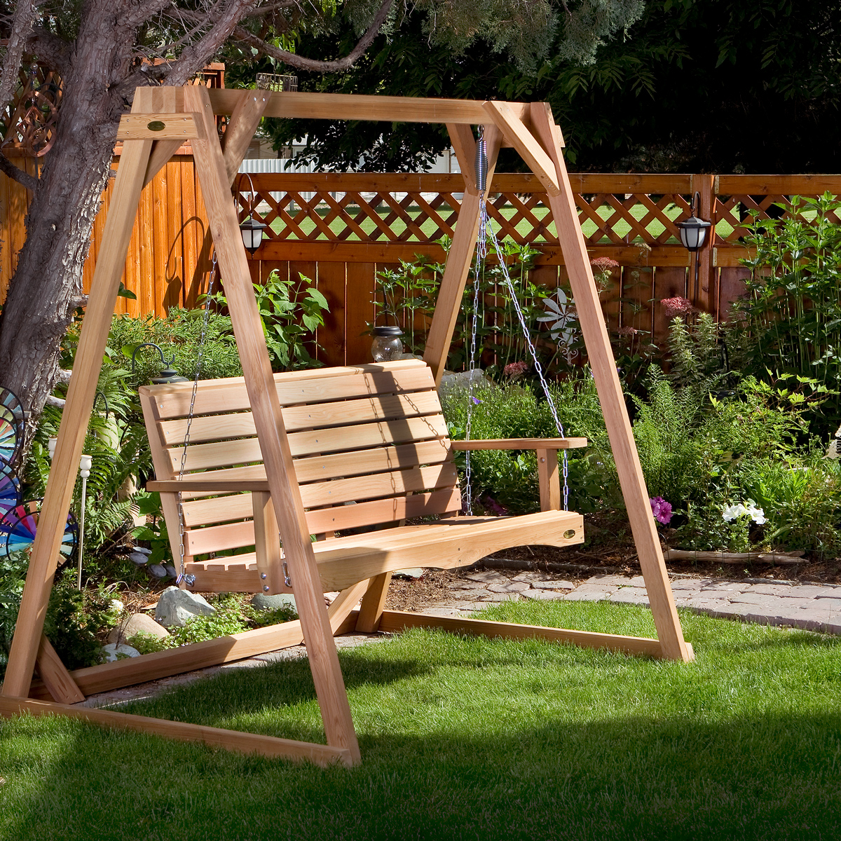 Image of: All Things Cedar Patio Furniture Adirondack Chairs Porch Swings Garden Benches Picnic Tables Planters Pergola Arbors
